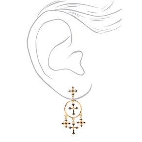"""Gold 2.5"""" Cross Drop Earrings - Black,"""