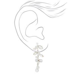 """Silver 2"""" Mermaid Pearl Vine Drop Earrings,"""