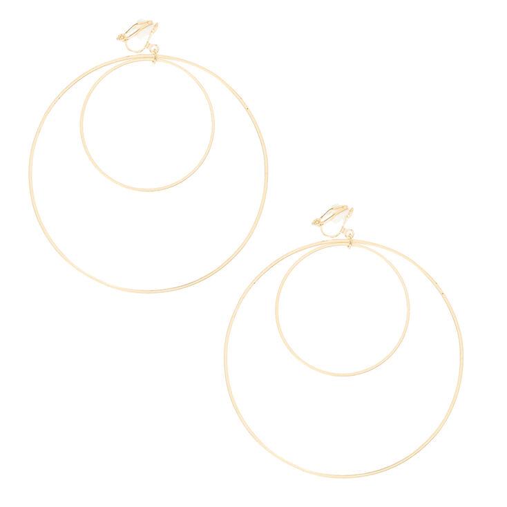 Gold Double Hoop Clip-on Earrings,