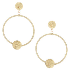 "2.5"" Metallic Hoop Drop Earrings - Rose Gold,"