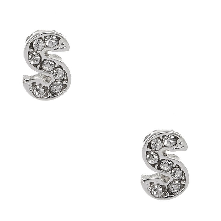 "Silver Tone Faux Crystal Initial ""S"" Stud Earrings,"