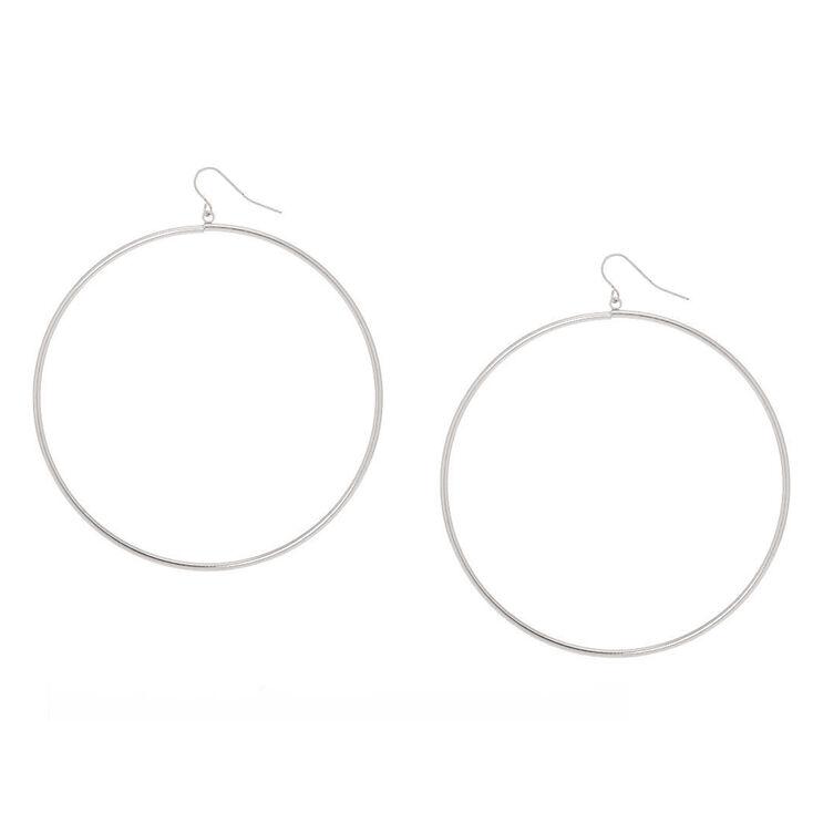 Silver 80MM Hoop Drop Earrings,