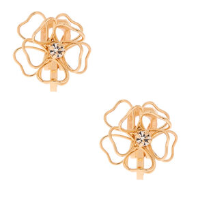 Gold Wired Flower Clip On Stud Earrings,