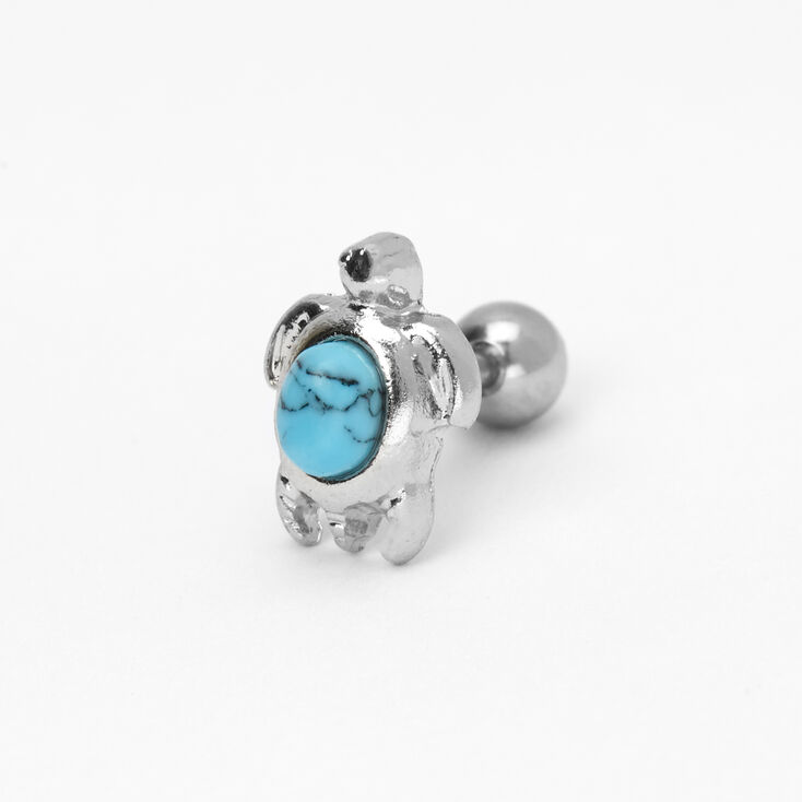 Silver 16G Marble Stone Turtle Cartilage Earring - Turquoise,