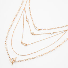 Gold Safety Pin Toggle Chain Multi Strand Necklace,