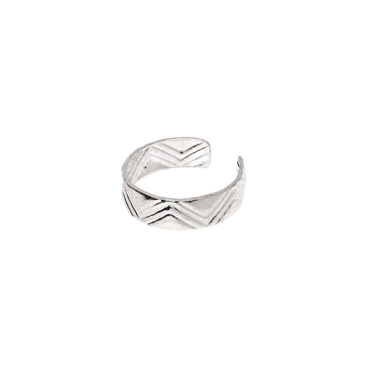 Silver Textured Ear Cuff,