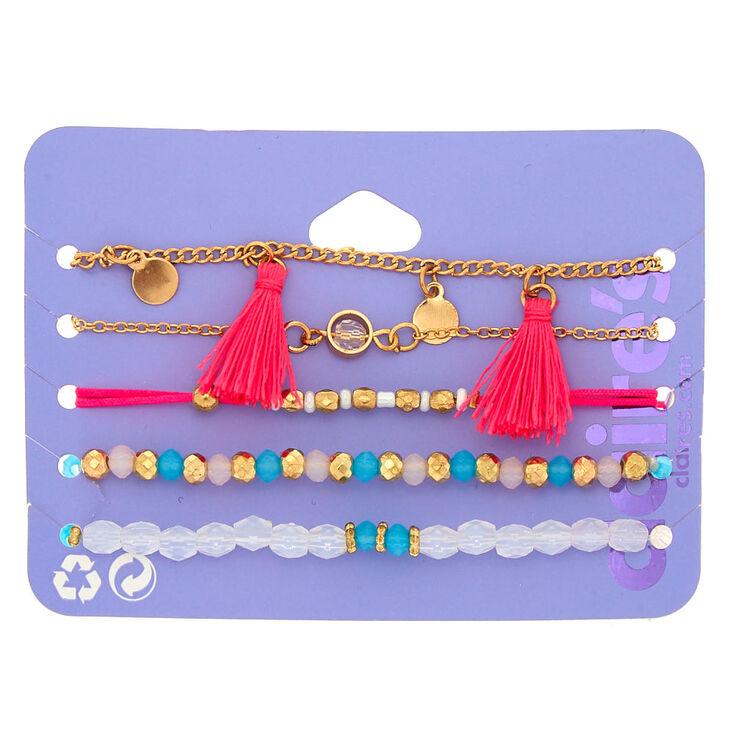 Gold Bright Summer Charm Bracelets - 5 Pack,