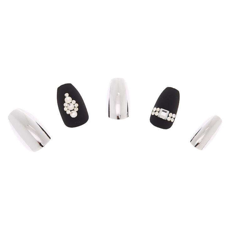 Metallic Bling Coffin Faux Nail Set - Black, 24 Pack,