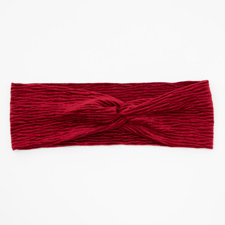 Velvet Pleated Twisted Headwrap - Burgundy,
