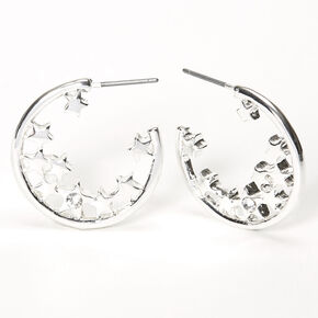 Silver 25MM Star Cluster Hoop Earrings,