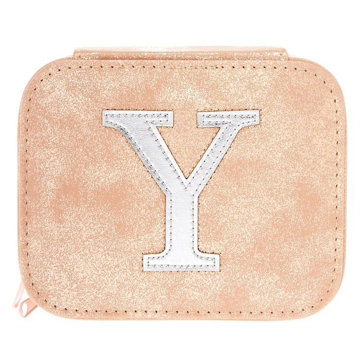 "Blush Pink ""Y"" Initial Jewelry Case,"