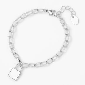 Silver Padlock Charm Chain Link Bracelet,