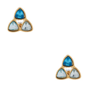 Sterling Silver Stained Glass Triangle Stud Earrings,