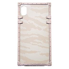 Silver Zebra Square Phone Case - Fits iPhone XS Max,