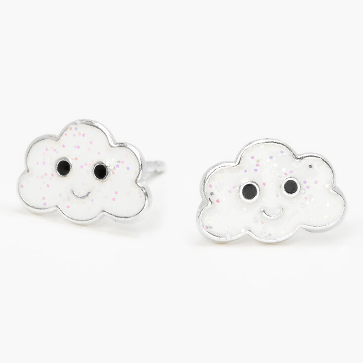 Sterling Silver Glitter Cloud Stud Earrings - White,