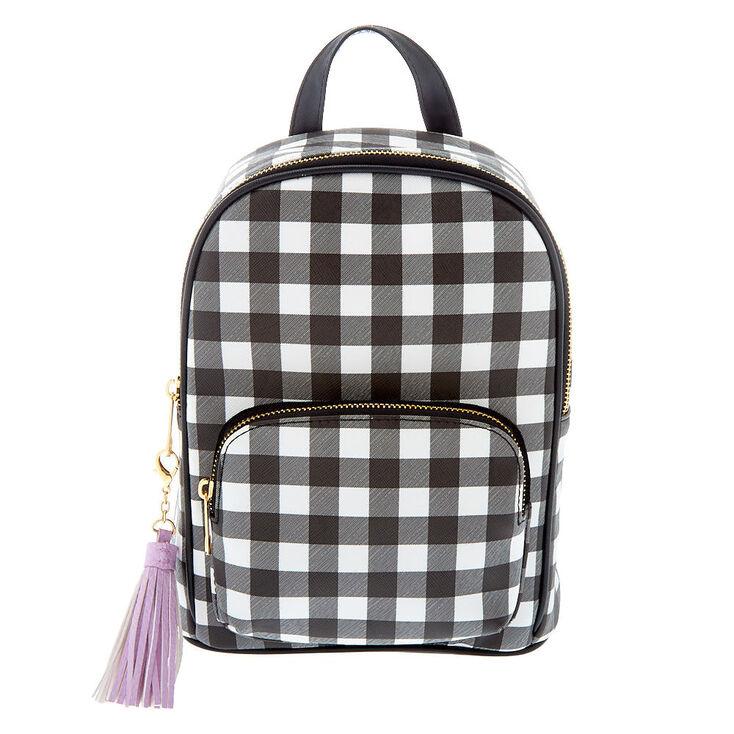 Gingham Print Midi Backpack - Black,