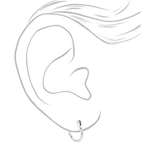 Silver Graduated Textured Hinge Hoop Earrings - 3 Pack,