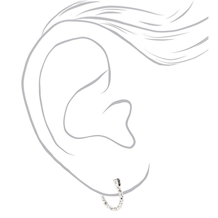Silver Graduated Textured Hinge Hoop Earrings - 3 Pack,