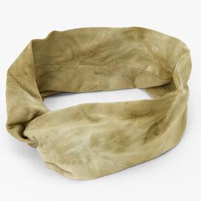 Tie Dye Twisted Headwrap - Olive Green,