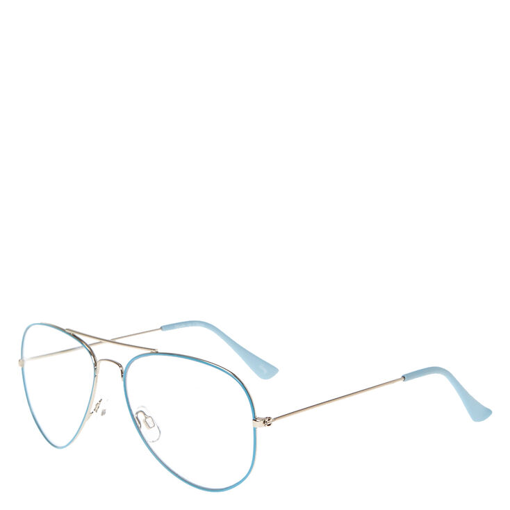 Baby Blue Aviator Clear Fake Glasses,