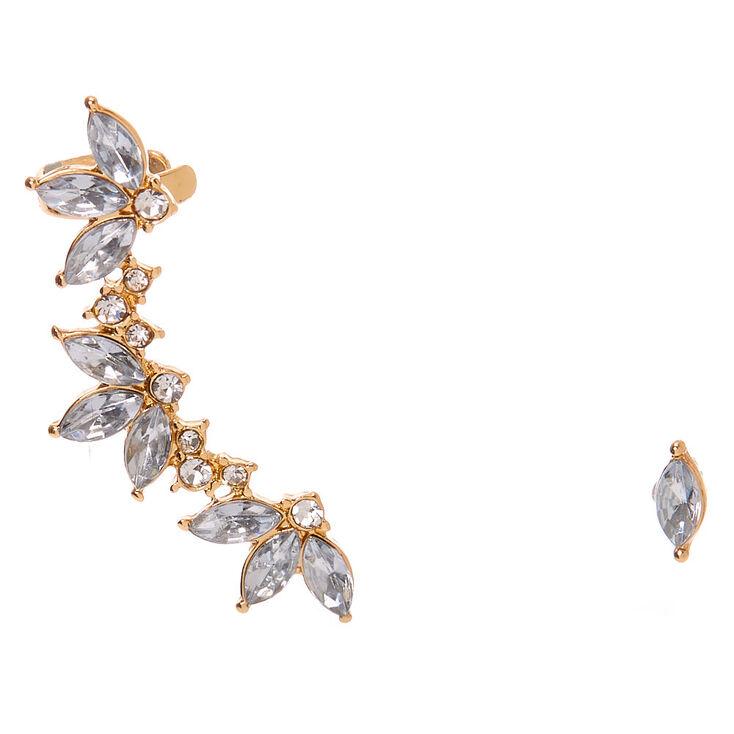 "Gold 1.5"" Ear Crawler Earrings Set,"