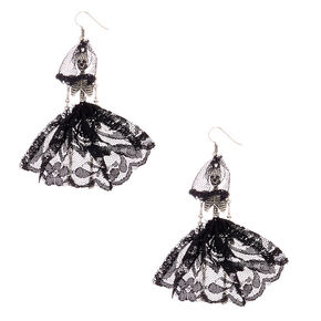 "Silver 3"" Day of the Dead Skeleton Drop Earrings,"