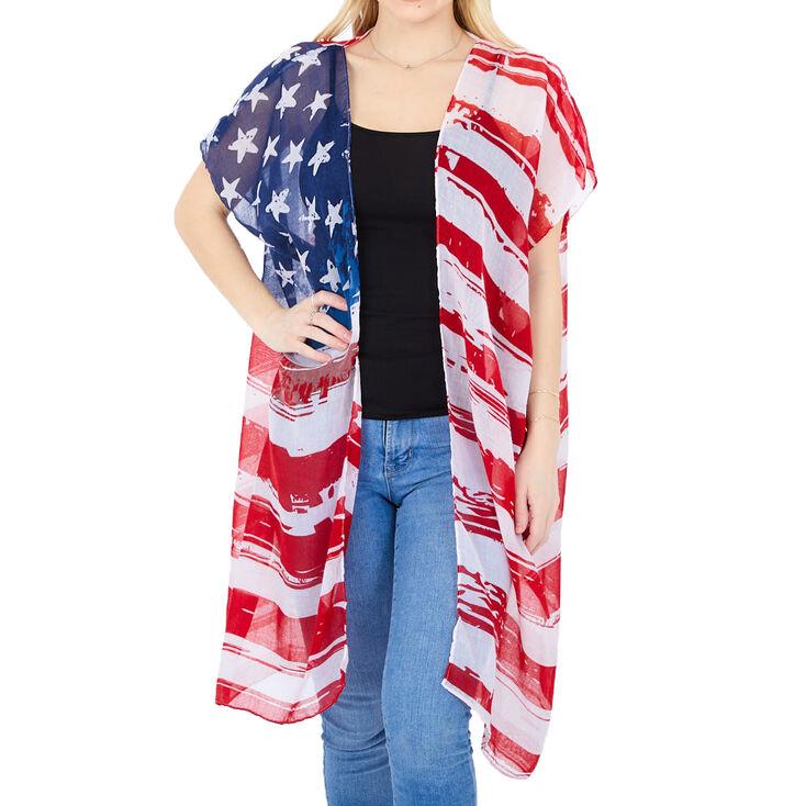 American Flag Sheer Kimono,
