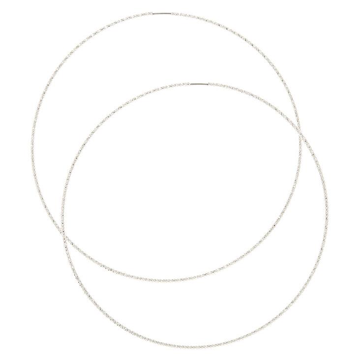 100MM Laser Cut Silver Hoop Earrings,