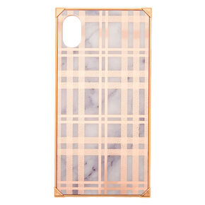 Rose Gold Plaid Square Phone Case - Fits iPhone XR,