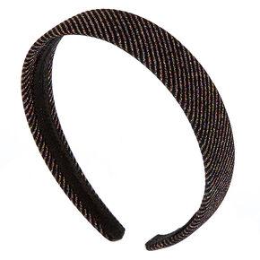 Rainbow Glitter Stripe Headband - Black,