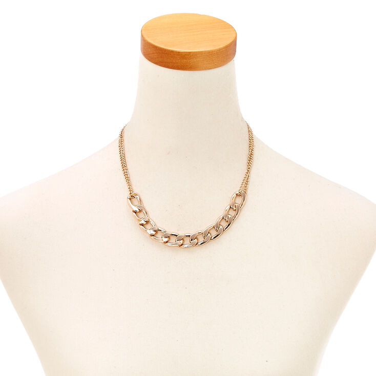 Rose Gold Glam Chain Necklace,