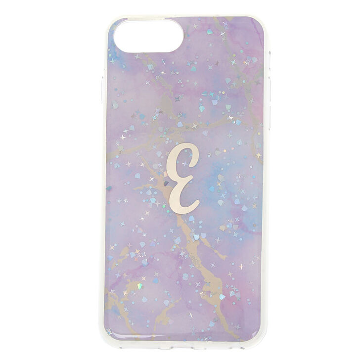 Lilac Marble Glitter Initial Phone Case - E,