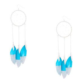 """Silver 5"""" Dreamcatcher Drop Earrings - Teal,"""