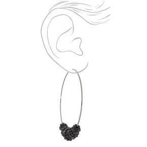 Black 70MM Beaded Hoop Earrings,