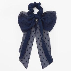 Organza Bow Hair Scrunchie - Navy,
