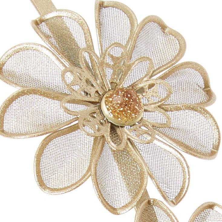 Gold Mesh Flower Headband,