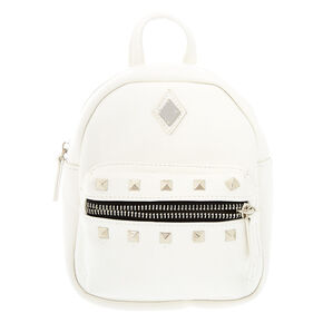 Leather Studded Mini Backpack - White,