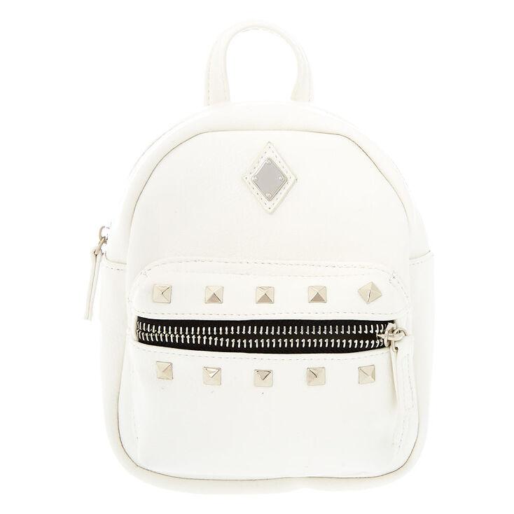 Leather Studded Mini Backpack - White,