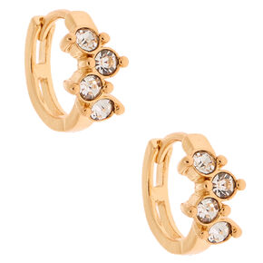 Gold 10MM Fancy Crystal Huggie Hoop Earrings,