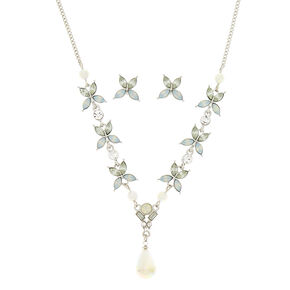Silver Mermaid Pearl Floral Jewelry Set - 2 Pack,