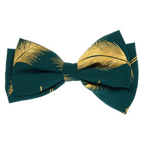 Metallic Leaf Hair Bow Clip - Emerald,