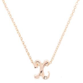 Rose Gold Cursive Initial Pendant Necklace - X,