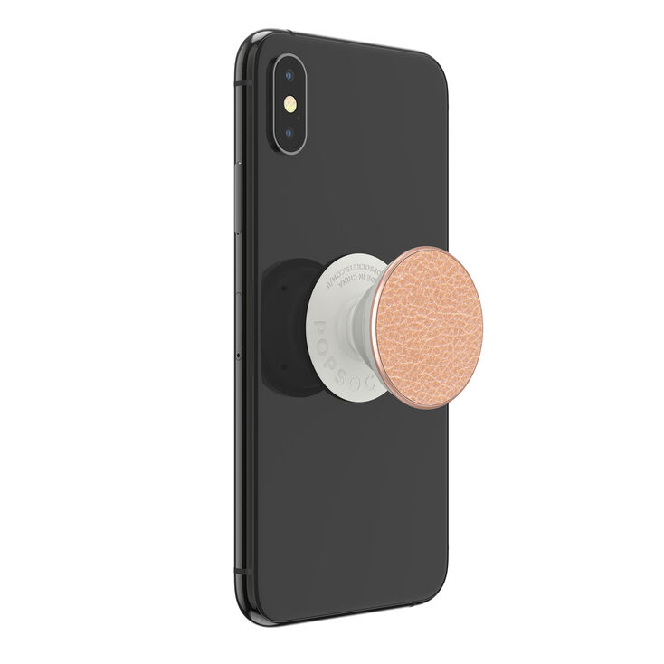PopSockets PopGrip - Pebbled Faux Leather Rose Gold,