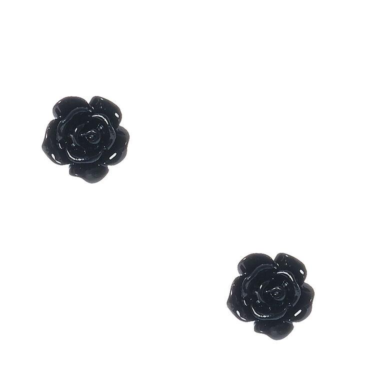 Black Glittered Carved Rose Stud Earrings,