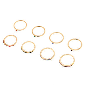 4 Pack Multi-Colored Studded Ring Pairs,