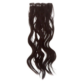 Wavy Faux Hair Clip On Extensions - Brown, 4 Pack,