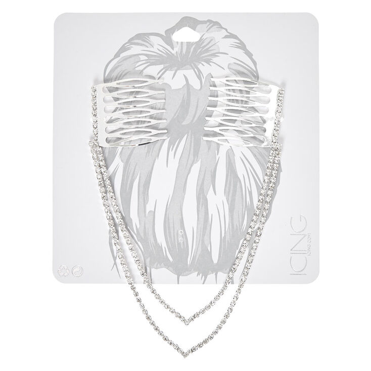 Silver Tone Double Chain Peaked Faux Crystal Decorative Hair Swag,