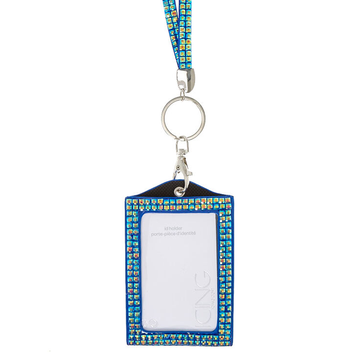 Blue Crystal Keyring ID Holder,