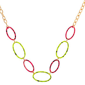 Gold Neon Speckled Chain Statement Necklace,