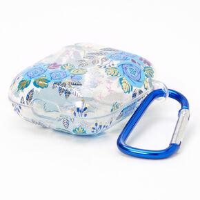 Navy Blue Floral Earbud Case Cover - Compatible with Apple AirPods,